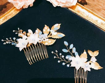 Miss Pastel- Golden leaf Rhinestone crystal bridal Hair Comb(a pair) /wedding headpiece/ bridal headpiece/wedding comb/hair accessory