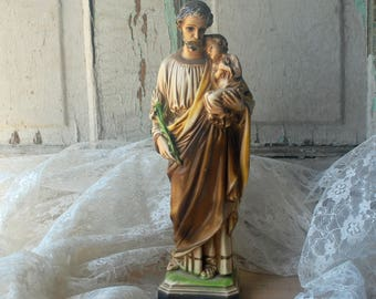 St Joseph with Child Plaster Statue