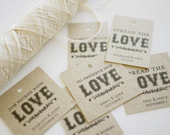 Spread the Love - Jam Packed with Love - To Preserve our Love - Personalized Favor Tags Printable