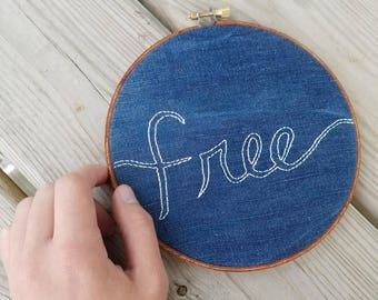 Free - Repurposed Embroidery Hoop Art