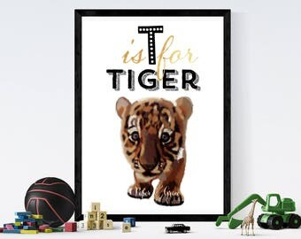 T for tiger alphabet Children room quote art PRINT 11'' x 13'' hand drawn print