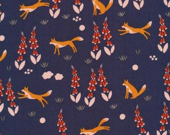 Fox fabric, Organic baby fabric, Foxes in the foxgloves, woodland fabric, Cloud 9 organic fabric, organic fabric, modern baby fabric, navy