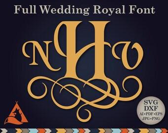 Wedding Monogram Font Svg Vine Monogram Svg Wedding Monogram Alphabet Vintage Cut Files Silhouette Studio Cricut Svg Dxf Jpg Png Eps Pdf Ai