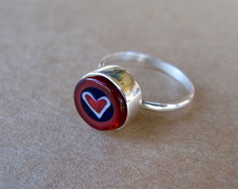 Millefiori glass and recycled sterling silver ring - heart
