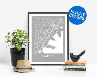 Naples Full Color Map Print | Naples Italy Map | Naples Art