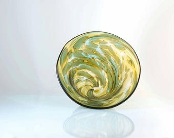 Amber and Blue Swirl bowl