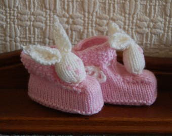 Pink and cream Baby girl bunny slippers/booties