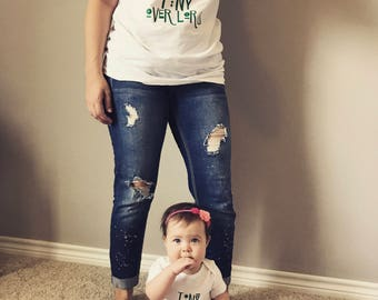 Cutom made mommy & me t shirt and onesie