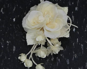 Vintage Handmade Artificial White Silk Flower Rose Corsage Brooch. High Quality Shabby Chic Fabric Flower Corsage Pin