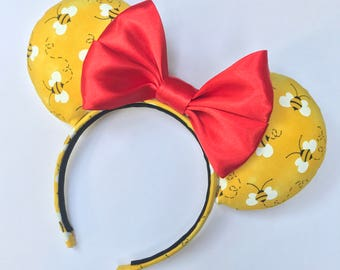 Disney Winnie the Pooh Ears, Pooh Ears, Disney ears,Disney Mouse Ears, Minnie Mouse Ears, Adult Minnie, Red Bow Ears