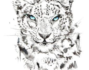 Snow Leopard-Leopard Download Print, Leopard Watercolor Print, Leopard Digital Print, Leopard painting, Leopard Wall Art, Animal Download