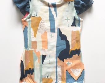 Girls toddler baby watercolor chambray leotard bodysuit