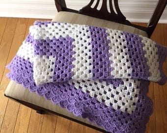 Crochet Baby Afghan Blanket, Purple and White