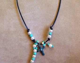 Turquoise Cross on Black Leather Cord with Dangles
