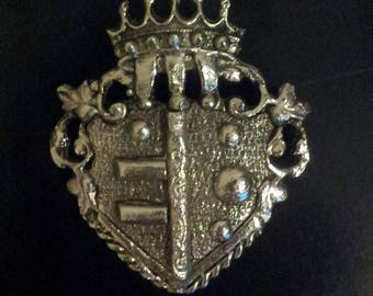 Shield and Crown Brooch