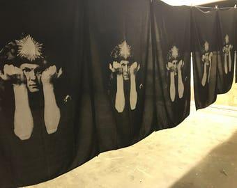 Aleister Crowley LARGE screen printed Beach Towel OR Beach Throw/ Wrap.  Mystic Occult Handmade