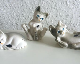 Vintage cat trio 80s kitten grey/white 3 she-cats