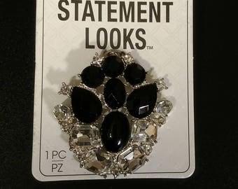 Darice black and clear rhinestone pendant