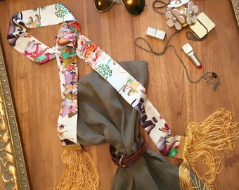 the beach, printed satin scarf