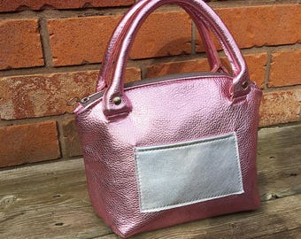 RESERVED for Jamie - Pink Leather Handbag - Ready to Ship, leather bag, womens bag, summer handbag, leather purse, Jennis Experiment