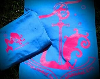 Mermaid Anchor Tee - Aqua Blue