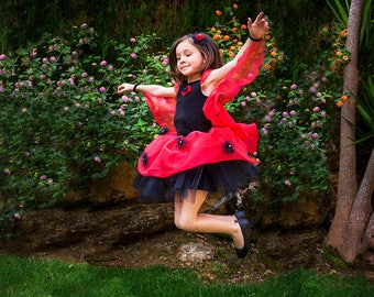 Tale Ladybug costume for girl. Fantasy Ladybug Tutu girl. Gift custom original nina. Organza wings.