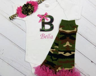 Camo baby clothes etsy camo monogram baby girl personalized bodysuit or gown leg warmers headband camouflage outfit gift set clothing negle Image collections