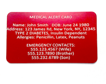 Medical Alert Card - Emergency Wallet Card - Custom Engraved Medic ID