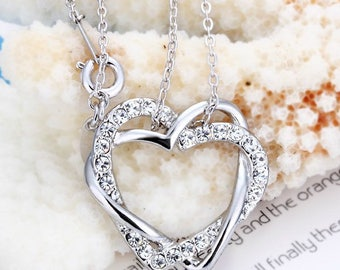 18k gold plated Swarovski crystal heart necklace N6