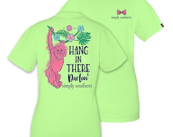 Simply Southern YOUTH Hang In There Darlin' Monkey Limeaide Green Short Sleeve T-Shirt