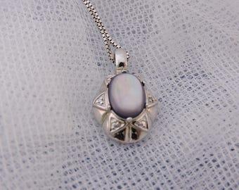 Vintage silver pendant on chain Hematite Taurus Zodiac Ram