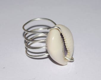 Shell Ring , Cowrie Shell Ring, Wire Jewellery