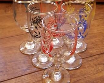 Set of 6 Small Vintage Glasses
