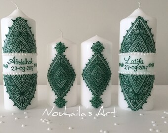 green personalized candle set