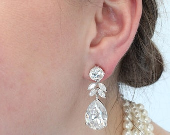 Bridal CZ Crystal Earrings for Brides, Rhinestone Earrings for Bridesmaids. Bridal jewelry, Drop earrings CZ2709-1