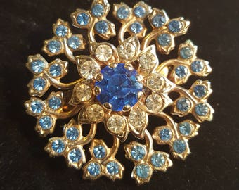 Vintage Jeweled Flower Brooch