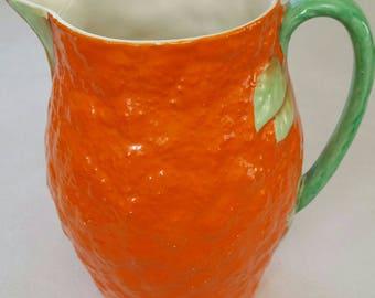 Crown Devon large 1930'S gorgeous orange jug.