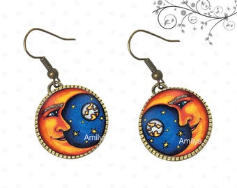 Moon Star on cabochons, Sun, moon, planet, universe earrings
