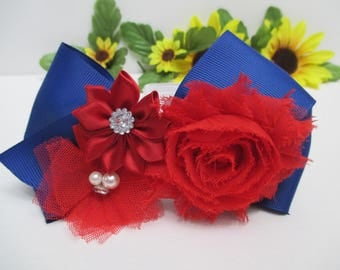 4th of JULY HEADBAND,  FLOWER Headband,  Girls Hair Accessories,  Red White Blue Headband, Girls Headband,  Bow Headband,  Gift For Her