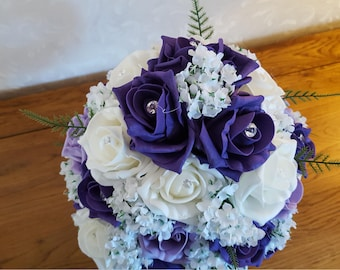 Foam rose and artificial gypsophila bouquet