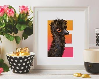 E is for Emu, Emu, Alphabet Birds, Instant Download, Emu illustration, Emu Nursery art, Bird Letter