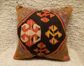 16x16 kilim pillow,turkish kilim pillow,vintage pillow,decorative cushion,bohemian pillow,kilim cushion,tribal pillow,ethnic pillow,