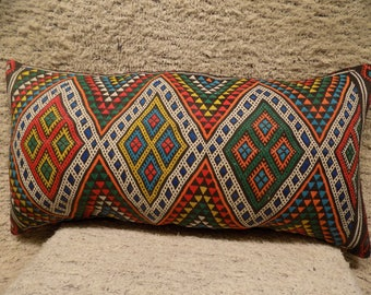 Colorful decorative handwoven kilim lumbar pillow,vintage kilim pillow,throw cushion,anatolain rug pillow,accent pillow,16x33(40x84cm)