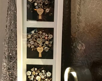 3 Tree Button Art Frame, Live, Laugh & Love