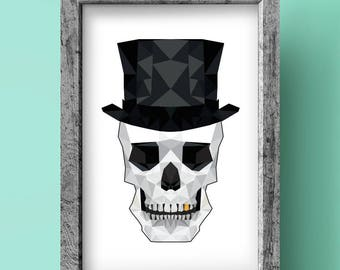 Skull Print - Geometric art - Original design - Rock & Roll print