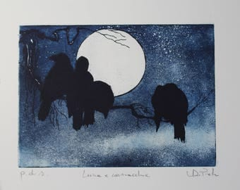 Deep etching Aquatint Moon Moon and Crows and crows