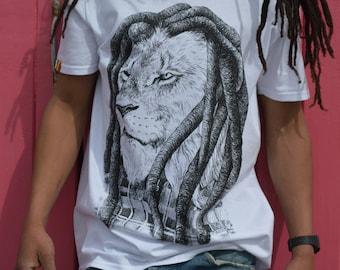 Rasta Lion with Dreads white T-shirt
