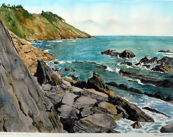 Watercolor, paper, Spain, Ribadesella, Asturias, rocks, sea, Cliff, 34 x 24 cm