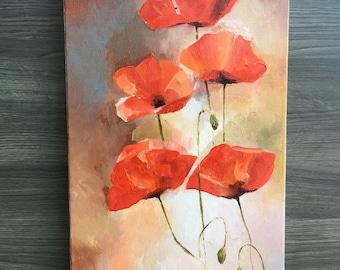 Flowers Original Oil Painting Art Poppy