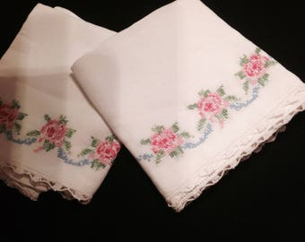 2pc. Vintage Embroidered Pillow Case Set